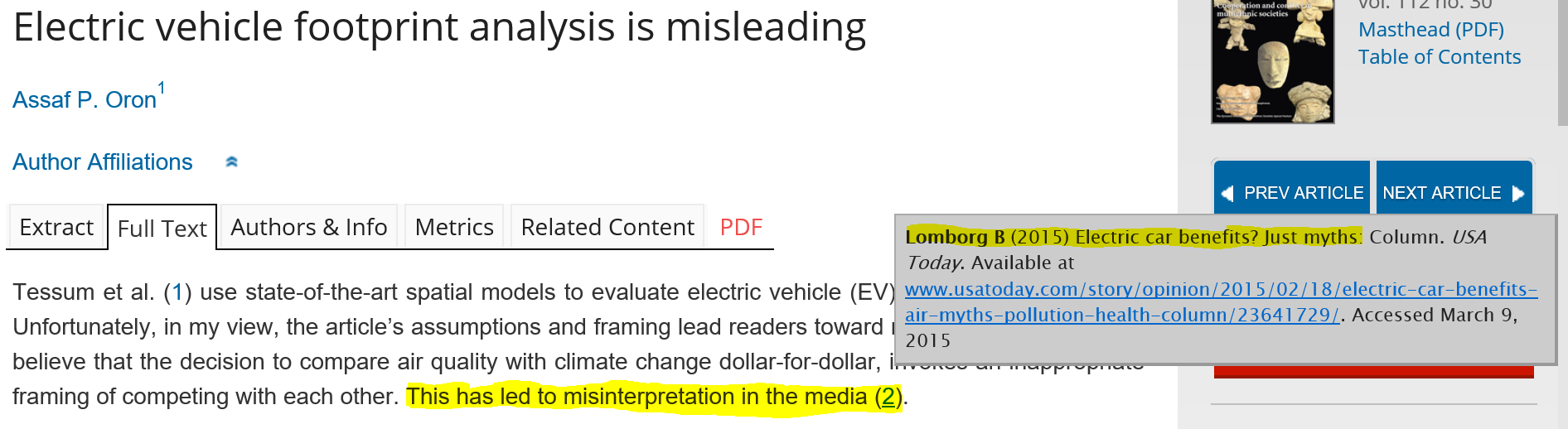 Figure 13: Assaf P. Oron points out that the findings of the study has been misinterpreted in the media by Bjorn Lomborg.